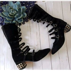 aff00f2d0c1b Black Upper Velvet Buckled Gladiator Studded Heels